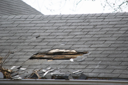 Damaged roof from a storm